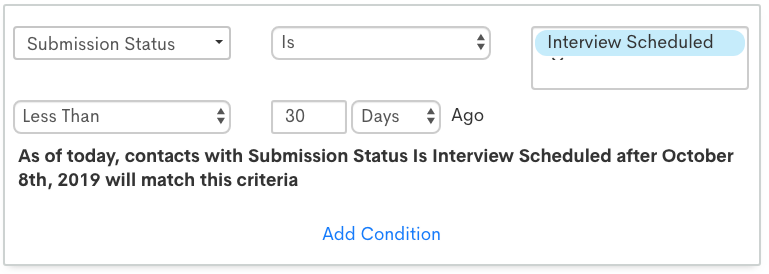 List segmentation screenshot for interview scheduled