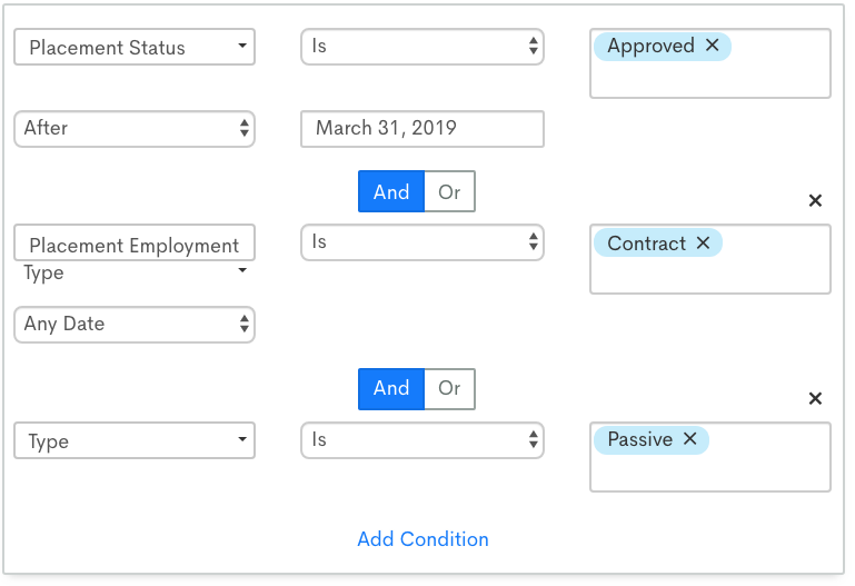 List segmentation screenshot for placement status