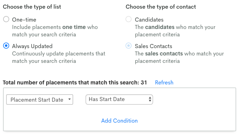 List segmentation screenshot for clients with placement
