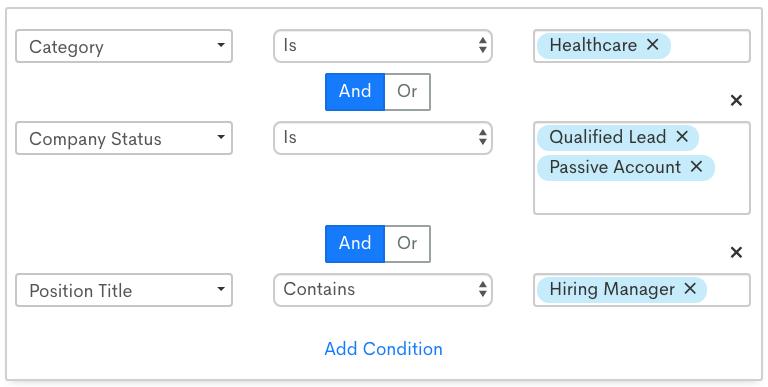 List segmentation screenshot for client marketing